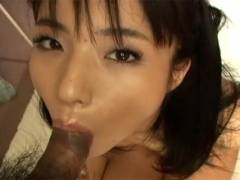 Hot Asian girl goes down on man's joint before getting cunt pokeed